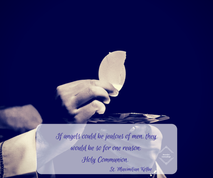 Maximilian Kolbe quote on angels and Eucharist
